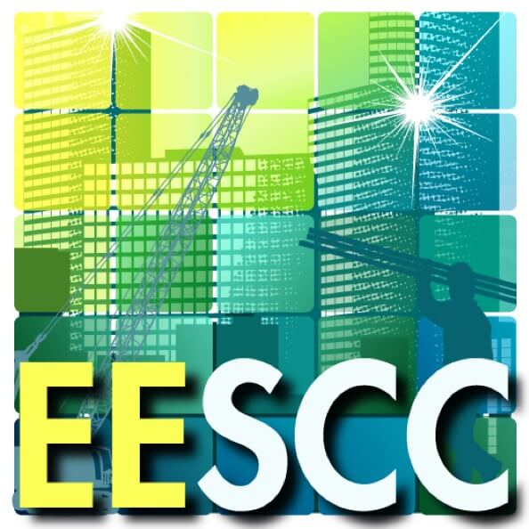 The logo for ANSI's EESCC activity, featuring abstract colorful buildings, construction images, and energy.
