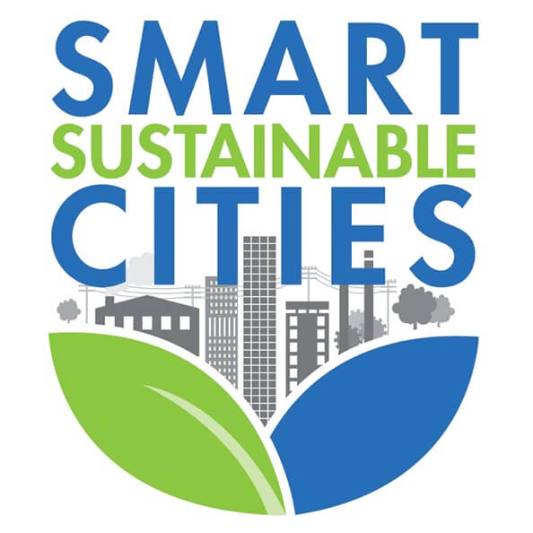 The logo for ANSI's Smart Sustainable Cities program, featuring an illustration of leaves with a modern city emerging.